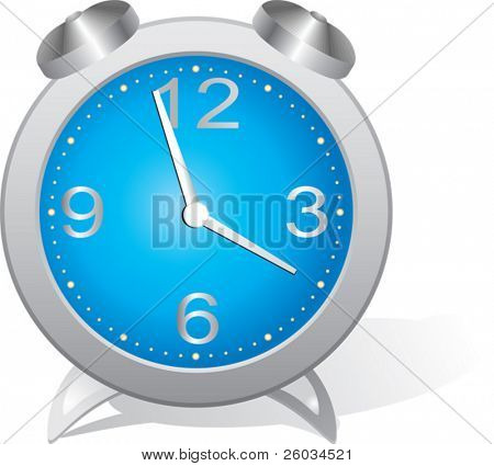 Blue alarm clock. Vector illustration