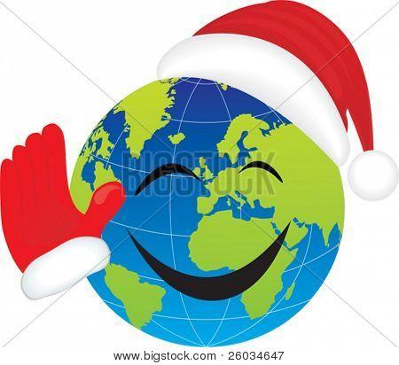 Globo con sombrero de Santa. Ilustración de Vector
