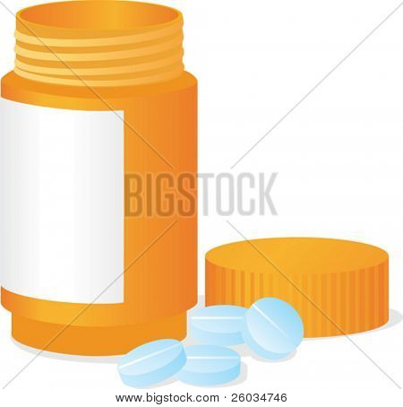 Bottle and tablets. Vector illustration