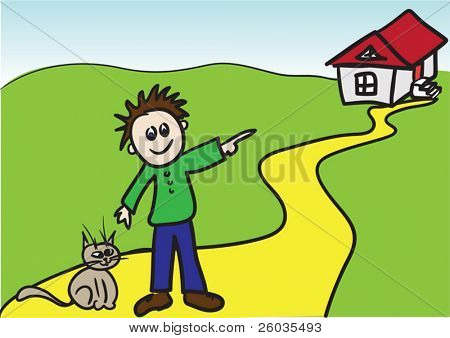 Kiddie style drawing of boy with cat. Vector illustration