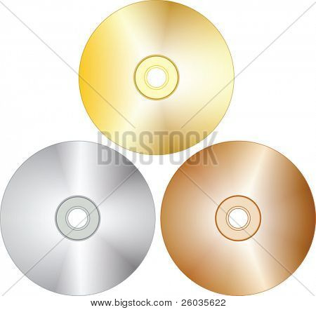 Tree blank cd-disks. Vector illustration