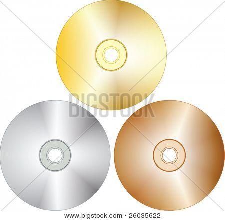 Tree blank cd-disks. Vector illustration