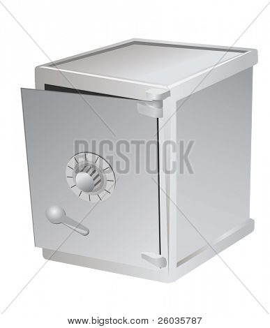 The safe with the slightly opened door. Vector illustration