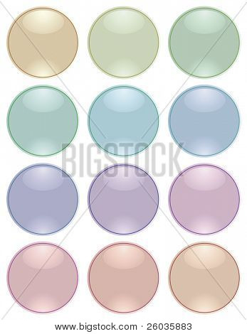 Collection of round glass buttons of pastel tones. Vector illustration