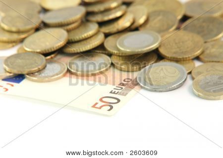 Fifty Euros Blur Coins