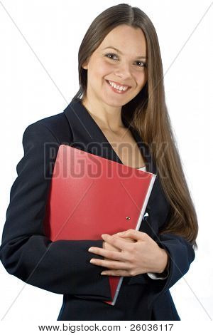 Young smiling woman in a business suit with a folder in hands. Isolated on white background