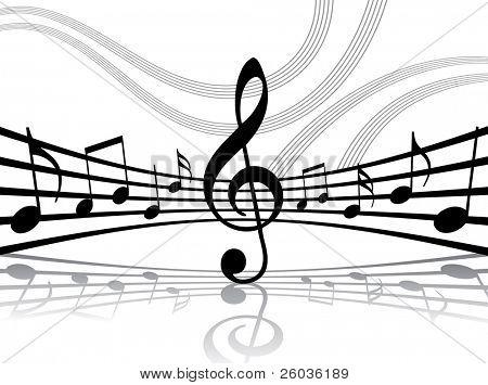 Resumen líneas musicales con notas. Ilustración de Vector