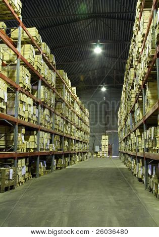 Industrial warehouse with plenty of boxes