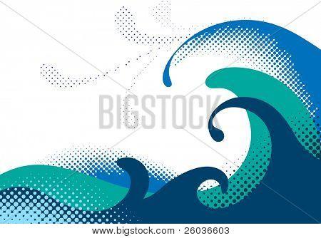 Halftone sea waves. Vector illustration