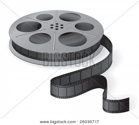 A movie reel with a strip of frames. Vector illustration
