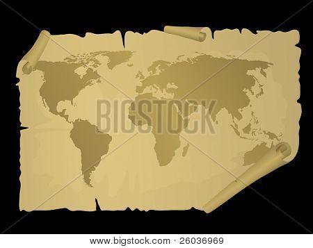 Vintage world map. Vector illustration