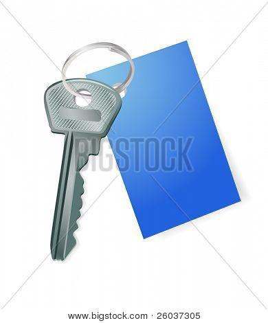 Key with a blank blue label. Vector illustration