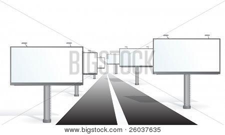 A billboards near a road. Vector illustration