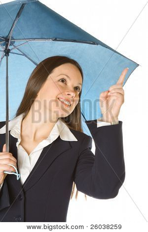 Portrait of a beautiful business woman holding a umbrella. Isolated on white background