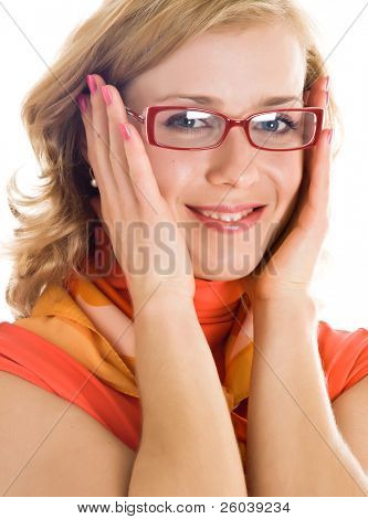 Young blond woman with glasses in hand. Isolated on white background
