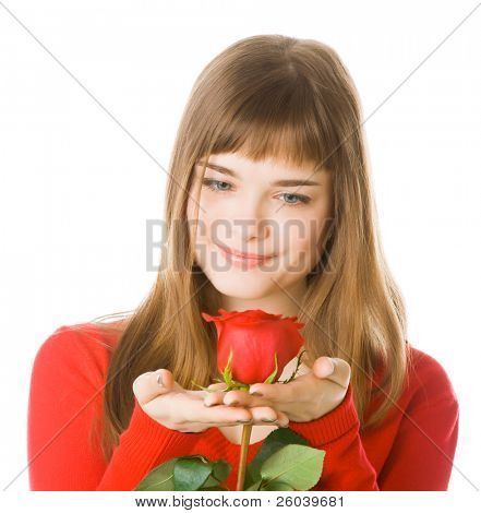 Young girl in red with rose. Isolated on white background
