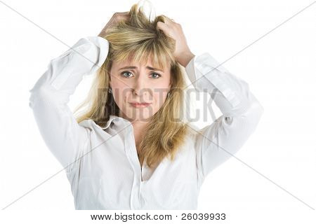 Woman in crisis. Isolated on white  background
