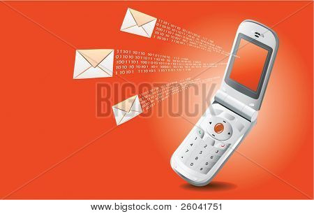 Mobile phone with SMS on orange background
