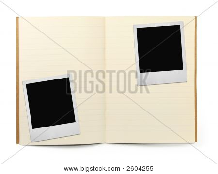 Exercise Book And Two Photo Frames