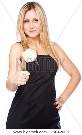 Attractive young blond woman with thumb up with a laughing expression. Isolated on white background
