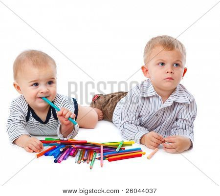 Two brothers. Isolated on the white background