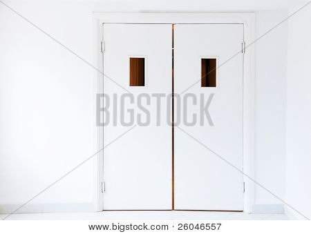 White doors in a hospital