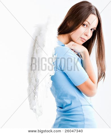 Young woman with white wings. Isolated on white background