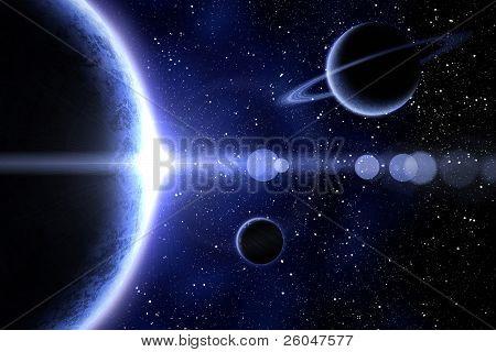 Blue Nebula And Three Planet
