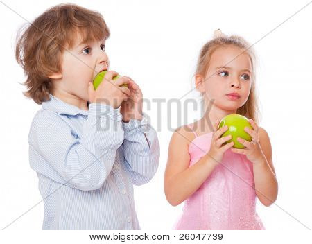boy and girl with apples. isolated on white background