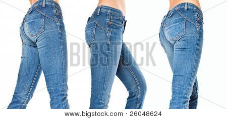 female legs in a blue jeans. isolated on a white background