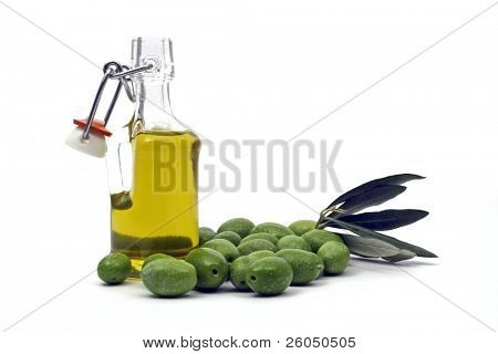 bottle of extra virgin olive oil and olives isolated on white