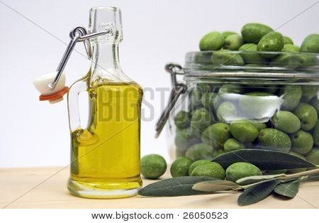 Extra virgin olive oil in a bottle