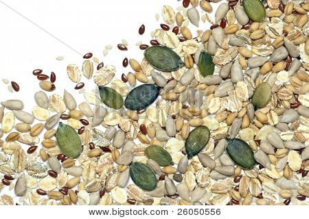 background vignete of various grains, seeds and cereals