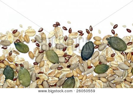 Seeds and cereals, background vignette
