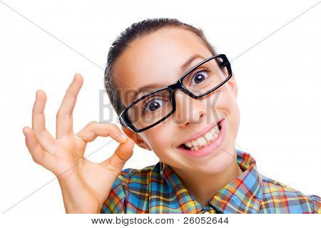 Young nerdy girl showing ok hand sign, isolated on white