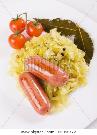 German sausage with sauerkraut
