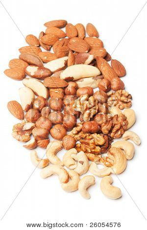 Mixed nuts, healthy snack isolated on white background