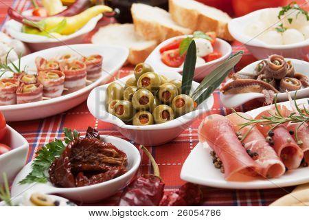 Pickled olives with other mediterranean appetizer food