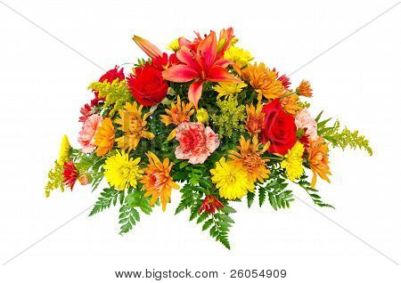 Colorful flower bouquet arrangement centerpiece isolated on white.