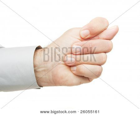 Obscene hand gesture isolated on white background