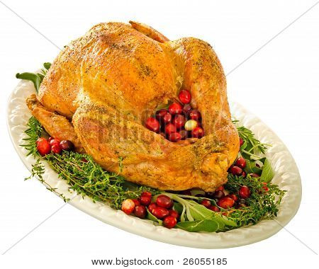 Roasted turkey stuffed with cranberries and herbs for Thanksgiving or Christmas dinner isolated on w