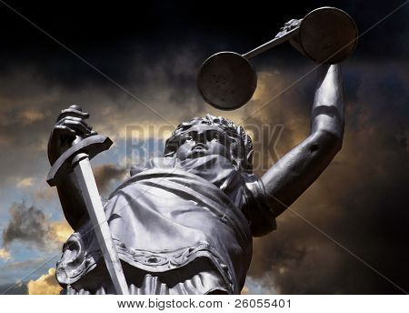 image of justice amist dark skys