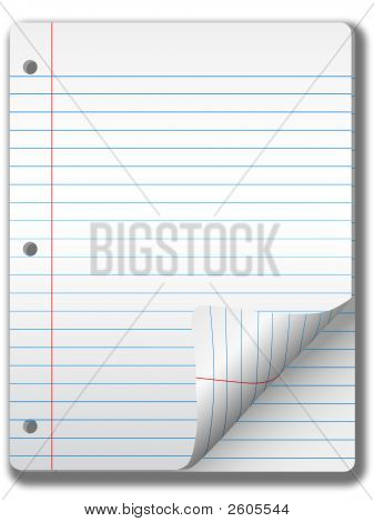 Wide Ruled Notebook Paper Pages & Page Curl Background