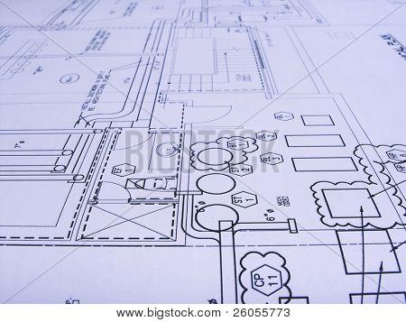 engineering plans close -up