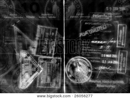 abstract grunge passport and visas