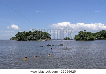 people swimming in the lake  nicaragua