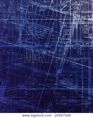 architecture plans  abstract blue