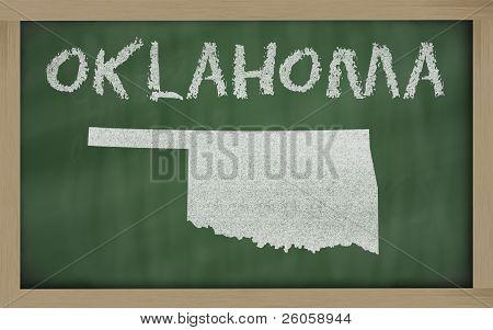 Outline Map Of Oklahoma On Blackboard