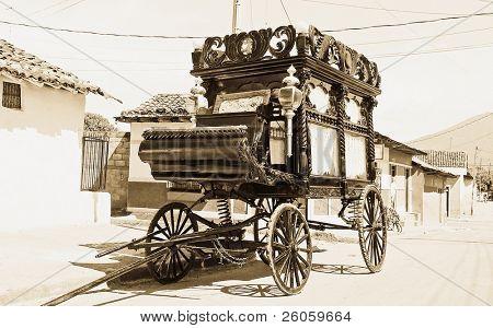 funeral carriage granada nicaragua in monochrome