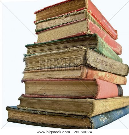 a stack of old book isolated on white